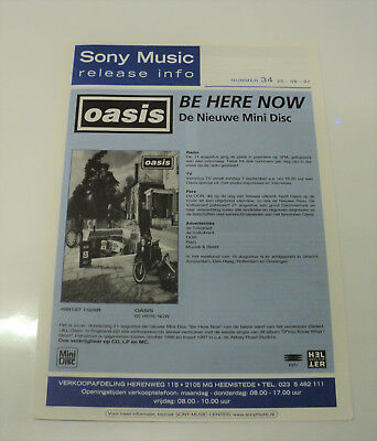 Oasis Rare Dutch Sony 1997 Promo Folder Release Info - Be Here Now