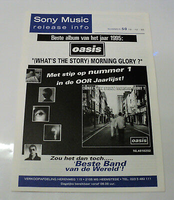 Oasis Rare Dutch Sony 1995 Promo Folder Release Info - What's The Story