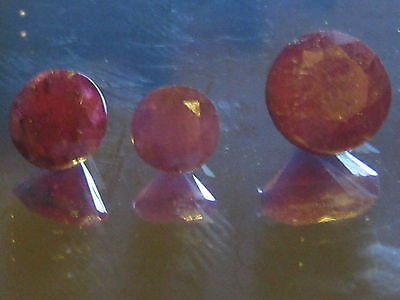 Rubies, Red natural rubies, heated and treated, some inclusion,round cuts opaque