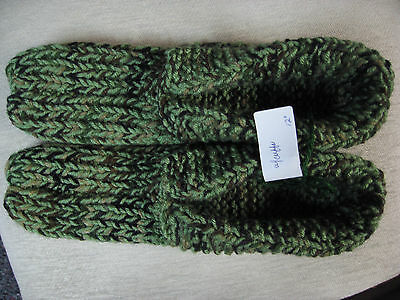 New Amish Handmade House Slippers Green Camouflage w/cuffs Wms 3X Lg Mans 2X 12""