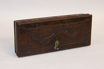 C1774 Antique Georgian Copper Balance Scales & Brass Weights In A Carved Oak Box