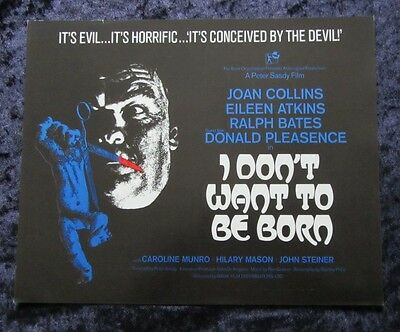 I Don't Want To Be Born synopsis sheet - Joan Collins