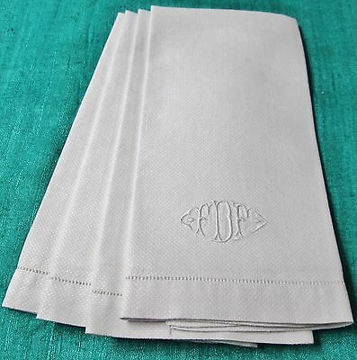 Antique Nubby 4 Linen Towels F D F Monogram Hemstitched Never Used