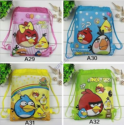 Kids Drawstring School Clothes Drawstring Backpack Toy Bag Child angry birds