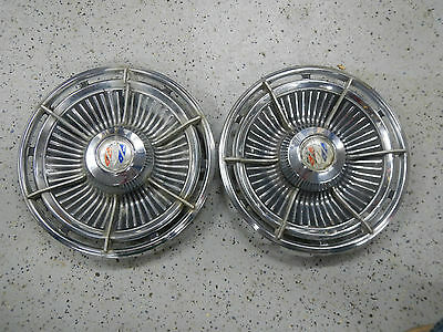 1963 Buick Electra 225 Hub Caps Set 2 (Two) Tri Shield Centers Finned Fins 63