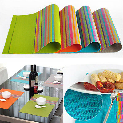 1/4Pcs PVC Stripe Bowl Placemats Insulation Coaster Dining Pad Western Table Mat
