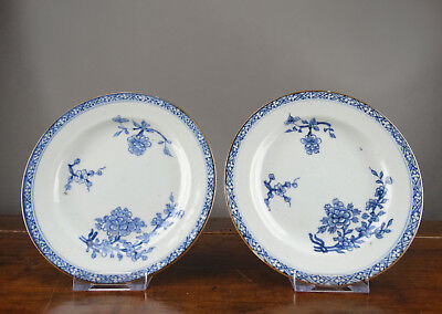 Chinese Plates Blue and White Antique 18th Century Export Porcelain Qianlong