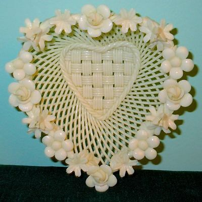 Belleek Ireland Vintage Porcelain Beautiful Heart Shaped Weave Basket Floral Rim