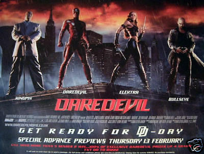 DAREDEVIL movie poster JENNIFER GARNER, BEN AFFLECK, COLIN FARRELL