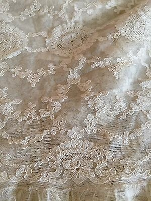 Beautiful Vintage Net Alencon Lace Bedcover