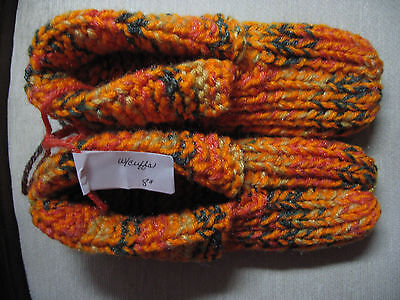 Amish Handmade Knit House Slippers w/cuffs Autumn Orange Wms Sm Mans XX Sm 8""