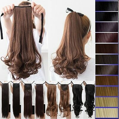 Good Offer Ponytail pony tail Fake Hair Extensions Clip in Human Hair Piece S16