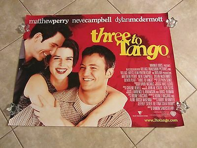 Three To Tango movie poster Neve Campbell, Matthew Perry - original uk quad