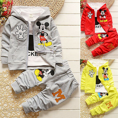 Newborn Baby Kids Mickey Mouse Hooded T Shirt Coat Jacket Pants 3pcs Outfits Set