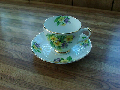 Duchess English Bone China TeaCup & Saucer, Yellow/purple Floral, scalloped,gold