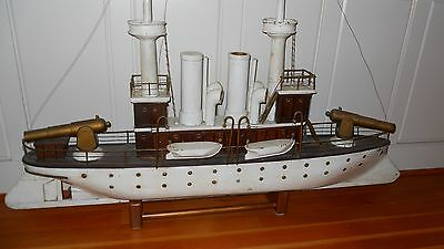 Battleship USS Maine c1898 Folkart Ship Model