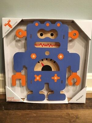 New Modern Moose Wood Wall Decor Blue Orange Robot Kids Bedroom Nursery Baby