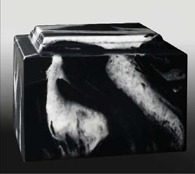 Black/White Cultured Marble Cremation Urn - perfect for ground burial