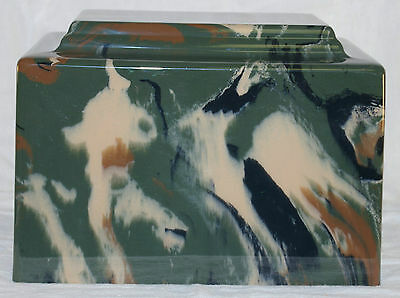 Camouflage Cultured Marble Cremation Urn - perfect for ground burial