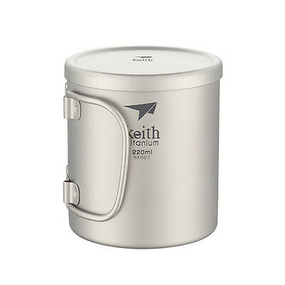Keith Camping Double Wall Titanium Cup  Folding Handle Lightweight Mug with Lid