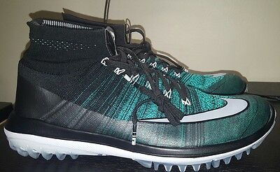 Nike Flyknit Elite Golf Shoes Black Jade 844450-001 Mens Size 10 Cleats $270