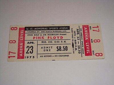 PINK FLOYD 1975 VINTAGE CONCERT TICKET ROGER WATERS DAVID GILMOUR Music USA