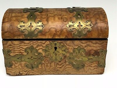 Antique Burlwood Tea Caddy Box w/ Brass Fittings Trunk Shaped