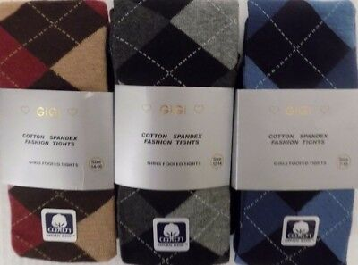 Girls 70 % Cotton Extra Warm Argyle Footed Tights 4-6 to 14-16  Buy 2 get 1 Free