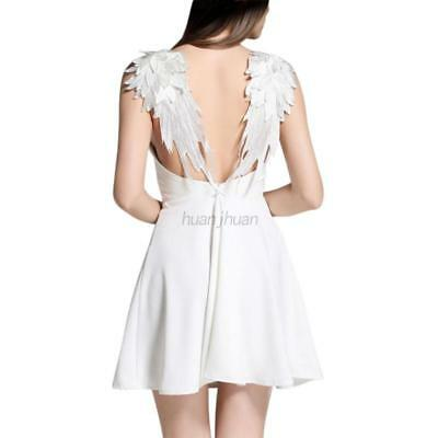 US Sexy Women Slim Backless Angel Wings Dress Party Cocktail Beach Mini Dresses