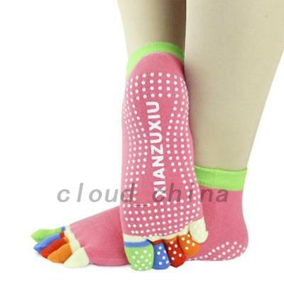 Non Slip Yoga Socks Five Toe Sport Exercise Barre Pilates Workout Gym Fitness