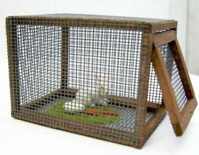 DOLLHOUSE Rabbit in Pen Taylor Jade Lying Down Food Cage Hutch Bunny Miniature