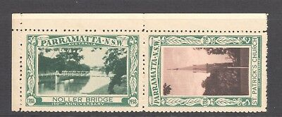 Australia - Parramatta 150th Cinderella Pair, Bridge & Church w. gutter, MNG