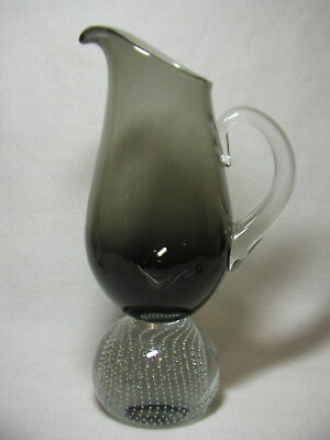 Erickson Smoke Colored Art Glass Pitcher W/ Lg Control Bubble Paperweight Base