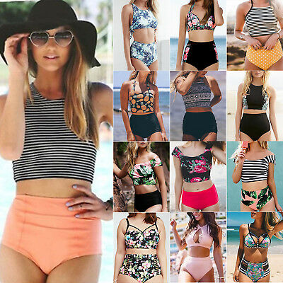 Womens High Waist Floral Bikini Set Push-up Padded Halter Bathing Suit Swimwear
