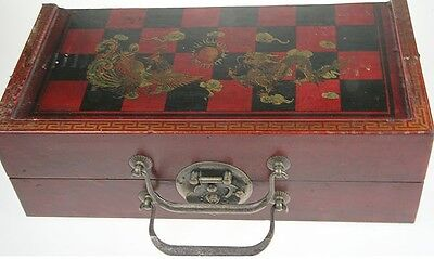 Repro Antique Dragon Chinese Chess Set Tomb Warrior Pieces Wood Case Brass Latch