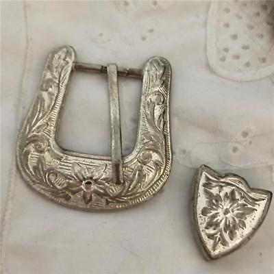 Vintage Silver Belt Buckle With Pattern 2pcs  (Metal)