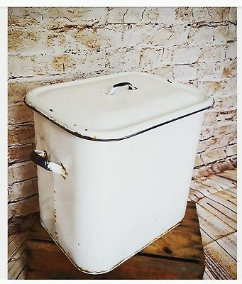 large vintage enamel bread bin shabby chic tin container