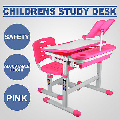 Kids Study Table And Chair ADJUSTABLE HEIGHT READING PAD ACTIVE PINK STURDY