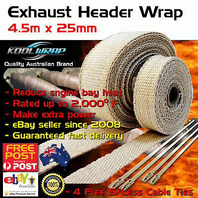 HEADER EXHAUST WRAP TAPE 2000 F Heat Protection Tan 4.5m x 25mm + 4 Steel Ties