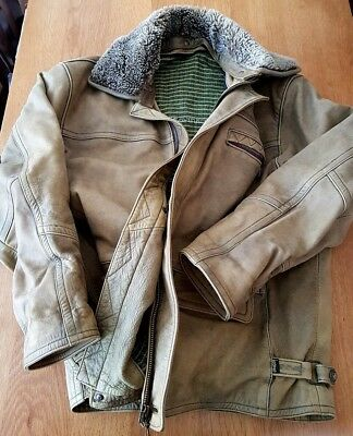 VTG Rare Heavy Route 66 Distressed Limited Edition Cafe Racer Leather Jacket XXL