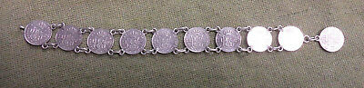 #d322. Ten Spanish 1853 Real  Silver Coins  Made Into  Bracelet, Needs  Clip