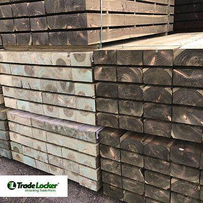 Railway Garden Sleepers 2.4m 100 x 200mm GREEN - Landscaping - FREE DELIVERY