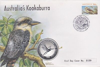 Australia Stamps 1996 Kookaburra Cover With Proof .999 Silver Coin 1Oz