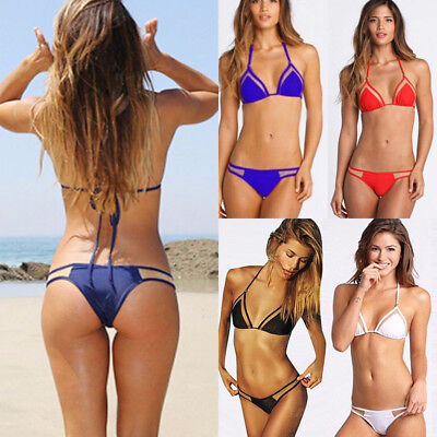 Summer Women Triangle Bikini Set Bandage Push-Up Bra Bathing Beachwear Swimwear