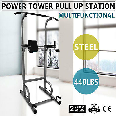 Power Tower Gym Body Workout Exercise Station Pull Dip Push Abs Trainer Bar