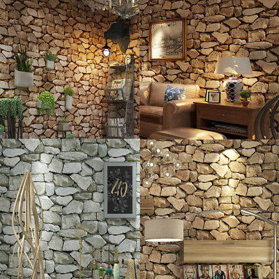 Vintage 3D Stone Wall Covering Paper DIY Wall Paper PVC Murals Home Shop 10m