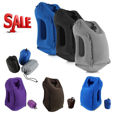 Portable Inflatable Travel Pillow Air Bus Face Neck Head Rest Office Nap Cushion