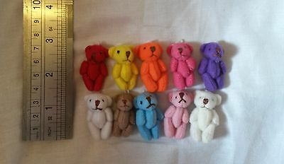 30 x mini BEARS 10 colours mixed tiny teddies dolls house miniatures  crafts