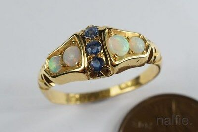 PRETTY ANTIQUE EDWARDIAN ENGLISH 18K GOLD OPAL & SAPPHIRE RING c1906