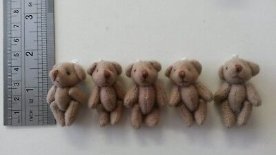 20  miniature 4cm TEDDY BEARS tiny teddies BROWN baby shower dolls house crafts